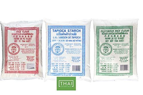 THAI ESSENTIALS PACK 3 of Thai Rice Flour, Dried Sweet Glutinous Rice Flour, and Tapioca Flour 1 lbs each