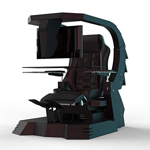 Hoseten Silla de Juego Silla de Oficina ergonómica Silla de computadora Masaje Soporte Lumbar Jefe Silla de Oficina Juego de Cabina Silla de Masaje Negro