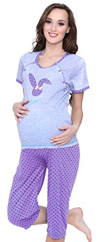 MijaCulture Mija 2 en 1 pijama de lactancia, pijama de maternidad 2065 Morado claro L