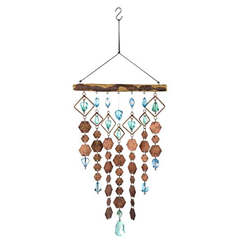 Grasslands Road Hanging Chime Hexagon - Wind Chime - Home Garden Décor, 14 5/8 Inch Length 7 5/8 Inch Width Metal/Glass