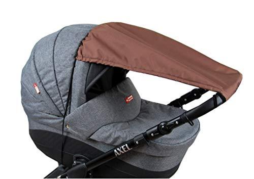 BABYLUX Sonnenschutz UV Rollo Schütz SONNENSEGEL Sonnendach für Kinderwagen Buggy (Braun)
