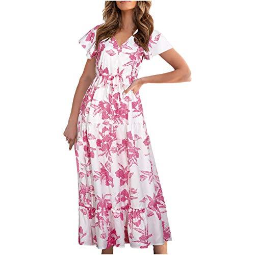 ZASUN Women's Maxi Dresses Fashion Flower Print Long Dress Teen Girl Casual Short Sleeve V Neck Summer Sundresses Plus Size Pink