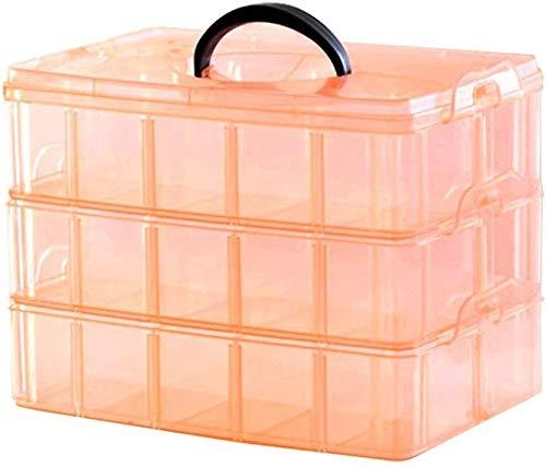 FASTUNBOX (LABEL) 3 Layer-30 grid basket Plastic Organizer Storage Compartment Box Makeup Cosmetic Accessories Storage Box, Removable Divider , Rectangular transparent