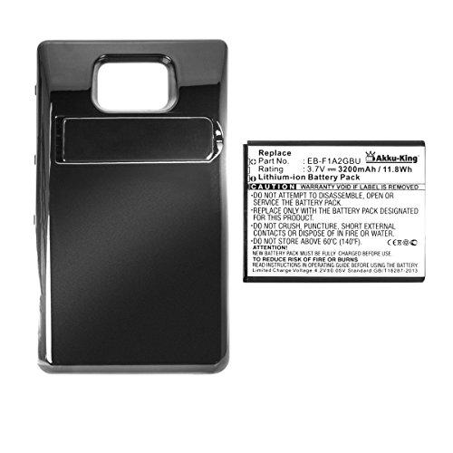 Akku-King Power-Akku kompatibel mit Samsung EB-F1A2GBU EB-FLA2GBU EB-L102GBK - Li-Ion 3200mAh Akkudeckel schwarz - für Galaxy S2 GT-I9100
