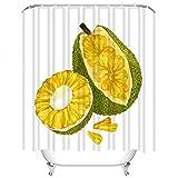 Set di tende da doccia Giaca Matura Verde Frutta esotica Seme Giallo Agricoltura Asia Tessuto in Poliestere Decor con 12 ganci Impermeabile lavabile 12 asole per bagno