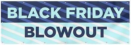 12x4 Stripes Blue Heavy-Duty Outdoor Vinyl Banner CGSignLab Black Friday Blowout