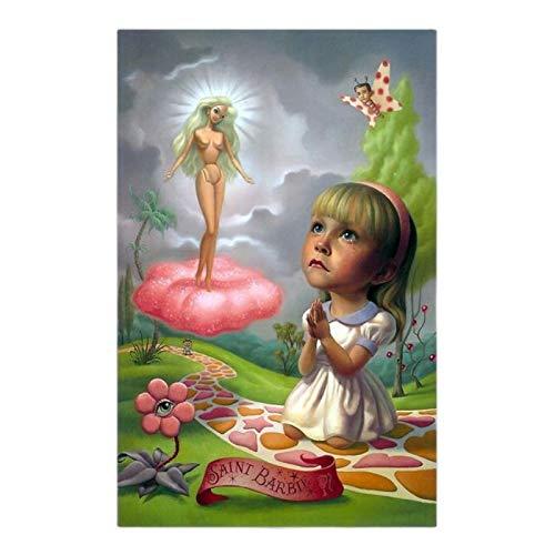 《Santa Barbie》 Arte de la lona Pintura Obra de arte Póster Imagen Decoración de la pared Decoración de la sala de estar del hogar Impresión en lienzo-50x75cm Sin marco