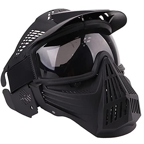 NINAT Airsoft Mask Tactical Masks Full Face with Greylens Lens Goggles Eye Protection for Halloween CS Survival Games Shooting Cosplay Mask Black