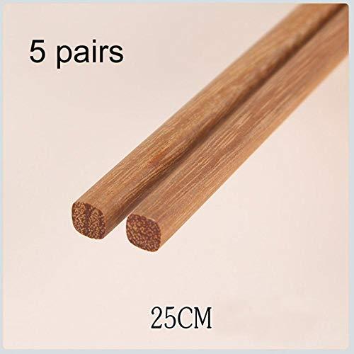 Fijnere 5 paar Chinese Natuurlijke Houten Bamboe Eetstokjes Geen Lak Geen Was Gezonde Sushi Rijst Eetstokjes Hotel Servies, B