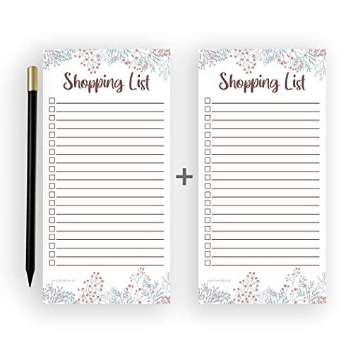 Friendly Fox Einkaufsliste magnetisch - Shopping to do listen block - 1x Magnetblock Kühlschrank mit 50 Einkaufszettel &. Magnetstift - Kühlschrankblock (Doppelpack Floral)