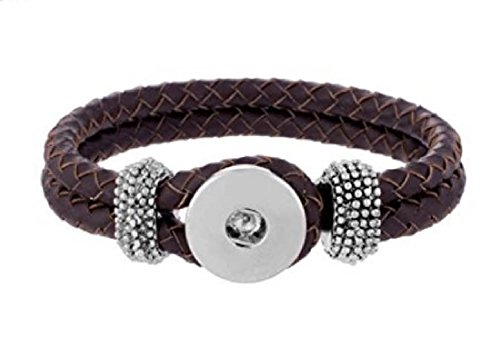 My Prime Gifts Interchangeable Snap Jewelry XL Brown Leather Snap Hook & Loop Bracelet 23mm Size Holds 18-20mm Snaps