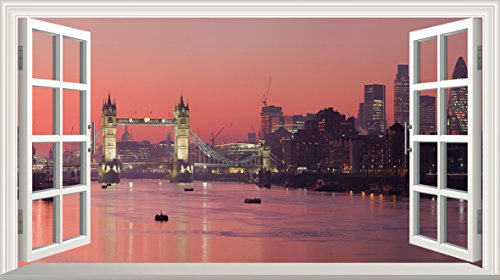 London Tower Bridge 3D V009 Magic Window Wall Sticker Self Adhesive Poster Wall Art size 1000mm wide x 600mm deep (large)