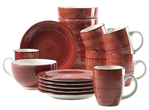 Mäser Frühstück-Service für 6 Personen im Vintage Look, handbemalte Keramik, Geschirr-Set 18 Teile, Steingut, Rot (Bel Tempo I)