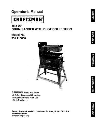 Craftsman 351.215680 Drum Sander Owners Instruction Manual Reprint [Plastic Comb] [Jan 01, 1900]