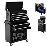 High Capacity Rolling Tool Chest with Wheels and Drawers, 8-Drawer Tool Storage Cabinet,Detachable Organizer Tool Box Combo,Mobile Lockable Toolbox for Workshop Mechanics Garage … (cool Black)
