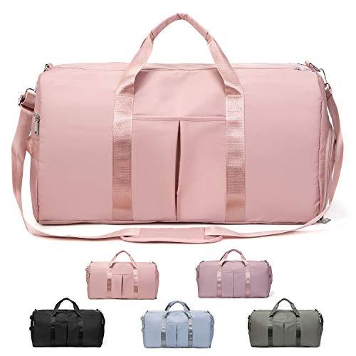 FEDUAN das Original, Sporttasche Reisetasche modisch wasserdicht mit Schuhfach Nassfach für Damen und Herren Yoga Pilates Strand Freizeit Sauna Gym-Tasche Shopping-Bag Weekender Urlaub (XL rosa pink)