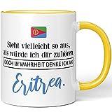 JUNIWORDS Tasse, Sieht vielleicht so aus, als würde ich dir zuhören. Doch in Wahrheit denke ich an Eritrea (1001247), Wähle Farbe, Gelb