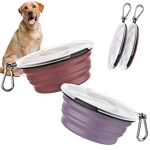 Pawaboo 2PZS 1 L Cuencos de Viaje de Silicona con Tapas para Perros Gatos, Alimentador de Agua Plegable Portátil, Tazones para Mascotas de Uso Doméstico - Violeta + Rojo