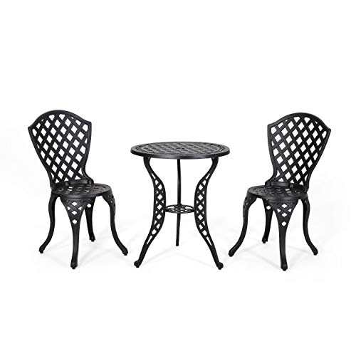Christopher Knight Home La Sola Metal Outdoor Bistro Set, Black With Bronze
