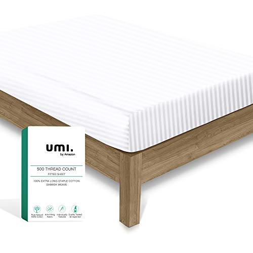 Amazon Brand – Umi Fitted-Sheets Double Bed Size - 1 Piece Pure White Satin Stripe 500 Thread Count Fitted Sheet, 100% Cotton 30cm Elasticized Deep Pocket Fits Low Profile Foam and Tall Mattresses