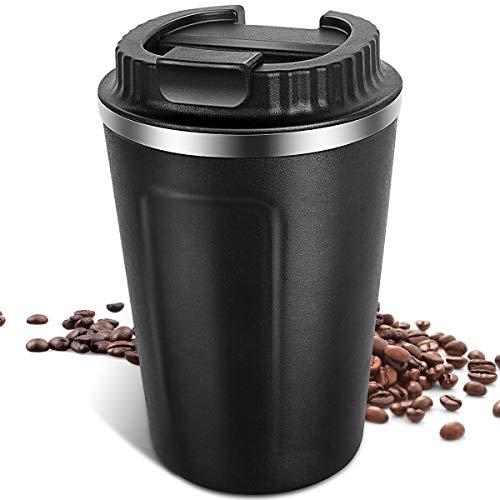 Vabaso 380ML Thermobecher Kaffee to Go, Kaffeebecher Thermo mit Deckel, Doppelwand Edelstahl Isolierbecher für Coffee Tee, Trinkbecher, Travel Mug fur Zuhause Schulen Büros Camp