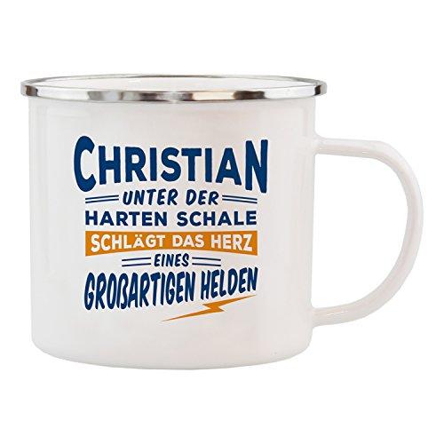 History & Heraldry Echter Kerl Emaille Becher, Christian, Mehrfarbig