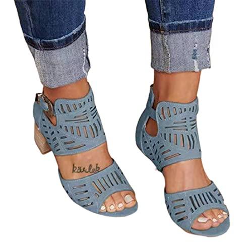 Damen High Heel Sandalen mit Schnalle Knöchel Große Größe Dekor Strass Mode Durable Anzug für Frauen Sommer Strand Zuhause