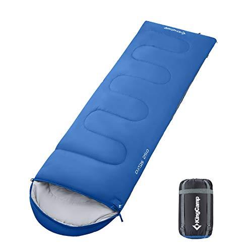 KingCamp Decken Schlafsack Oasis 250 Sommer Camping Outdoor 2,2m Lang&Breit -3°C Royal Blue - Zipper R