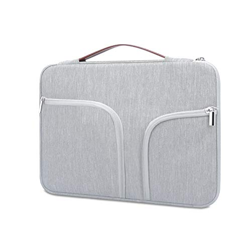 """HESTECH Chromebook Case,11.6""""-12.5 inch Water Repellent Polyester Protective Laptop Sleeve Bag Handle Front Pockets Acer/HP Stream/Samsung/Microsoft Surface Pro 7/3/4/5/6,Gray -  B11H53D-Gray-DNB11"""