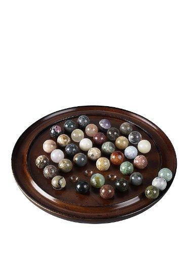 Authentic Models - Solitaire - Brettspiel mit echten Halbedelsteinen - Maße (ØxH): 25 x 3,5 cm