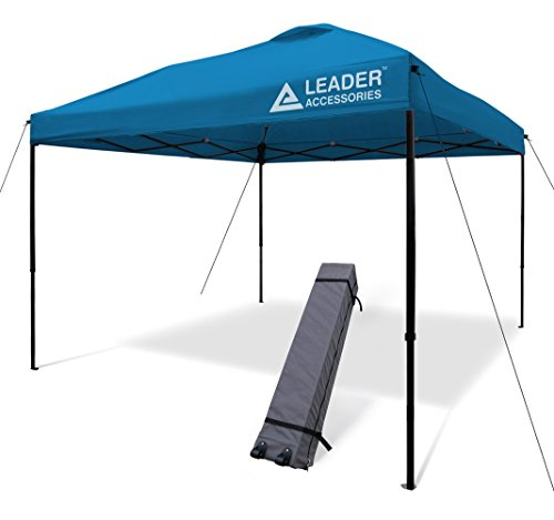 Leader Accessories Pop Up Canopy Tent 10'x10' Canopy Instant Canopy Shelter Straight Leg Including Wheeled Carry Bag, Blue