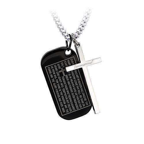 バイブルプレートペンダント クロスアクセント SPTP1216 聖書刻印 十字架 レーザー刻印 光沢仕上げ 肌に優しいサージカルステンレス316L素材 バンプベネチアンチェーン (ブラック×チェーン長さ約50cm)