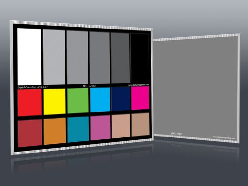 """DGK Color Tools DKC-Pro 5"""" x 7"""" Set of 2 White Balance and Color Calibration Charts with 12% and 18% Gray - Pro Quality - Includes Frame Stand and User Guide"""