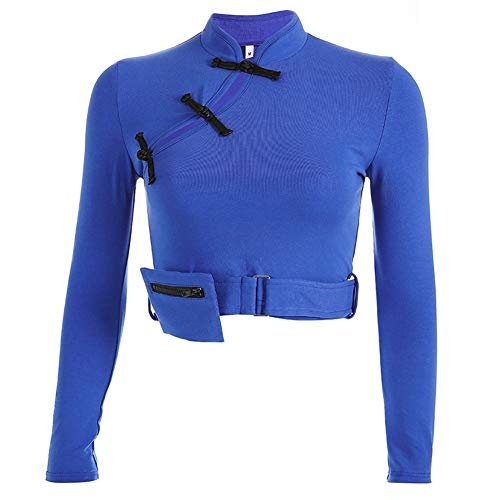Fried De Las Mujeres Botones De La Placa Retro Collar del Soporte Ceñida Camiseta Párrafo Corto Manga Larga túnica Atractivo (Color : Blue, Size : L)