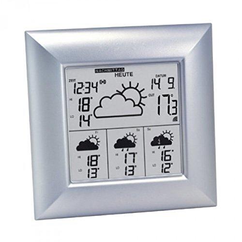 Technoline WD 4000 satellitengestützte Wetterstation mit Uhrzeit, Innen/Außentemperaturanzeige, zuverlässige Wettervorhersage für 4 Tage, silber, 14,8 x 5,4 x 14,8 cm