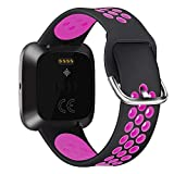 Compatible for Fitbit Versa   Soft Silicone Replacement Sport Band for Versa 2/Versa Lite/Versa 1/SE (Black Magenta, Large)