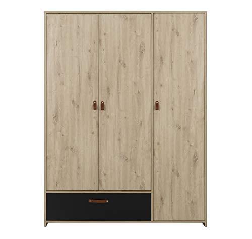 Aramis kledingkast met 3 deuren, 1 lade, eiken, beige en zwart