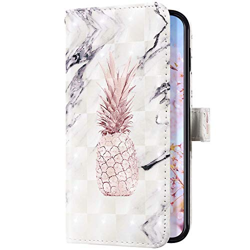 Uposao Kompatibel mit Samsung Galaxy A40 Handyhülle Leder Schutzhülle Glitzer Bling 3D Klapphülle Flip Case Brieftasche Leder Hülle Bookstyle Wallet Tasche Magnet Kartenfächer,Ananas