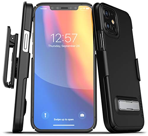 Encased Slimline Series Belt Clip Case with Kickstand Compatible with iPhone 12 Thin Cover with Holster - Black