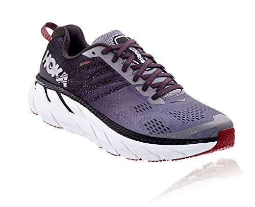 HOKA ONE ONE Men's Clifton 6 Running Shoes, Gull/Obsidian, 11 Wide US