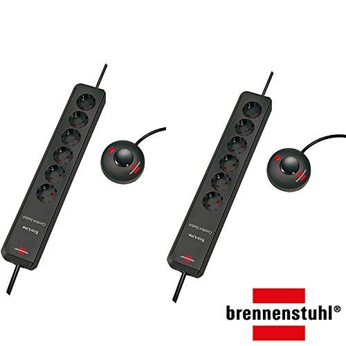 Brennenstuhl Eco-Line Comfort Switch, Steckdosenleiste 6-fach (mit Fußschalter und 2 m Kabel - besonders stromsparend) Farbe: anthrazit (2 Stück)