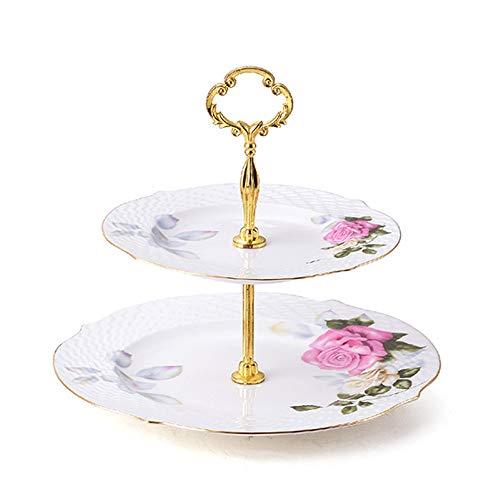 CL- De haute qualité en os porcelaine plateau rond rose gâteau stand présentoir dessert cadre maison salon bureau collation décoration accessoires, 2 styles, 2 tailles Supports à cupcakes