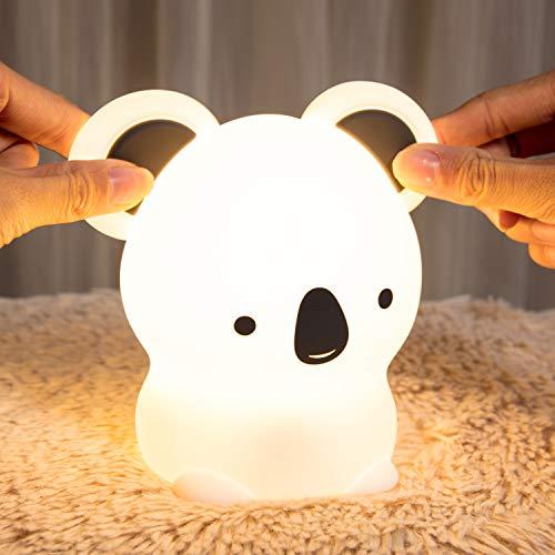 LED Nachtlicht Baby,Kawaii Koala Nachtlicht Kinder,Stilllicht Babyzimmer Tiere Deko, nachttischlampe,Dimmbar Touch USB Silikon Kinderlampe, Warme Cute Bed Schlaflicht als Einschlafhilfe Geschenk