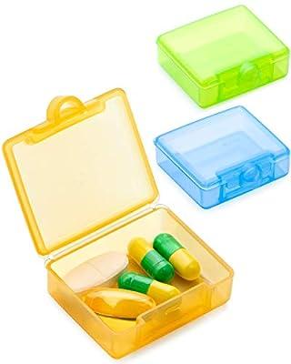 3 Stück Tablettenbox Pillendose Klein Für Unterwegs, Passen Fast In Jede Tasche Hosentasche - Blau Gelb Grün
