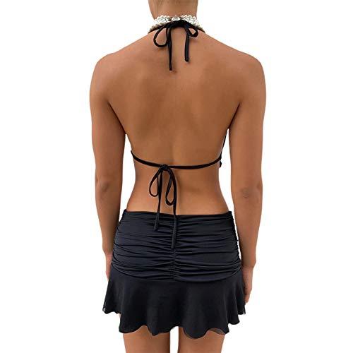 Falda sexy con volantes para mujer, falda corta de tenis y patinador, Negro , S