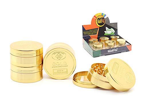 HIBRON ® Grinder Metálico Molinillo de Tabaco y Hierba (58612-Dorado)