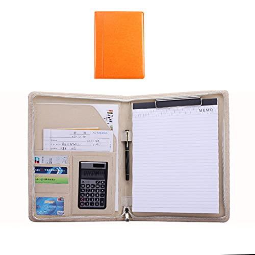 QYQS Carpeta organizadora/Portafolio con Cremallera A4 / con Calculadora/Portátil Multifunción/Portafolio con Cremallera de Cuero(Size:12-Digit Calculator,Color:Naranja)