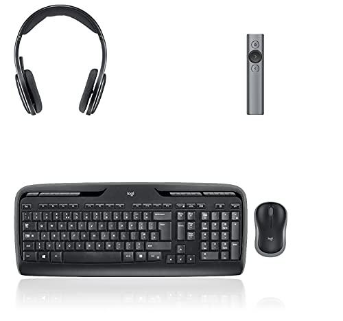 Logitech MK330 Kabelloses Tastatur-Maus-Set, Deutsches QWERTZ-Layout - Schwarz + Logitech H800 Kabelloses Bluetooth Headset + Logitech Spotlight Presenter - Slate/Grau