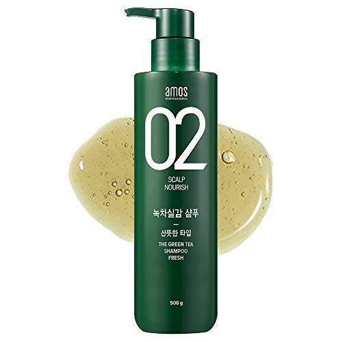 AMOS PROFESSIONAL The Green Tea Shampoo [Fresh - For Oily Scalp] 500g   Anti-Thinning & Anti- Hair Loss Shampoo for Hair Growth and Cleanse Excess Sebum   Korean Hair Salon Brand