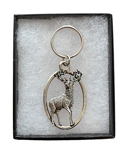 Emblems-Gifts KA31 Schlüsselanhänger, stehender Hirsch, aus Zinn, mit Gravur, Schwarz